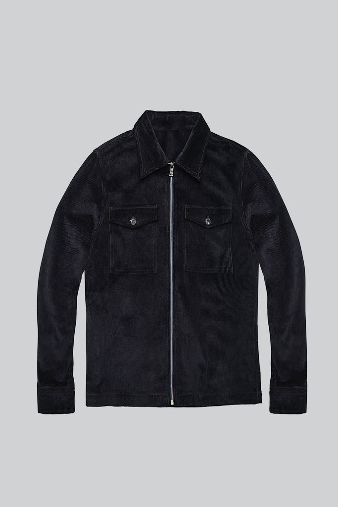 Corduroy Jacket Zipper - Navy Blue