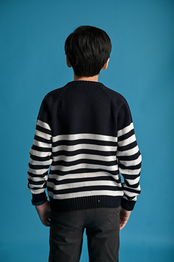 Crew Neck- NAVY STRIP