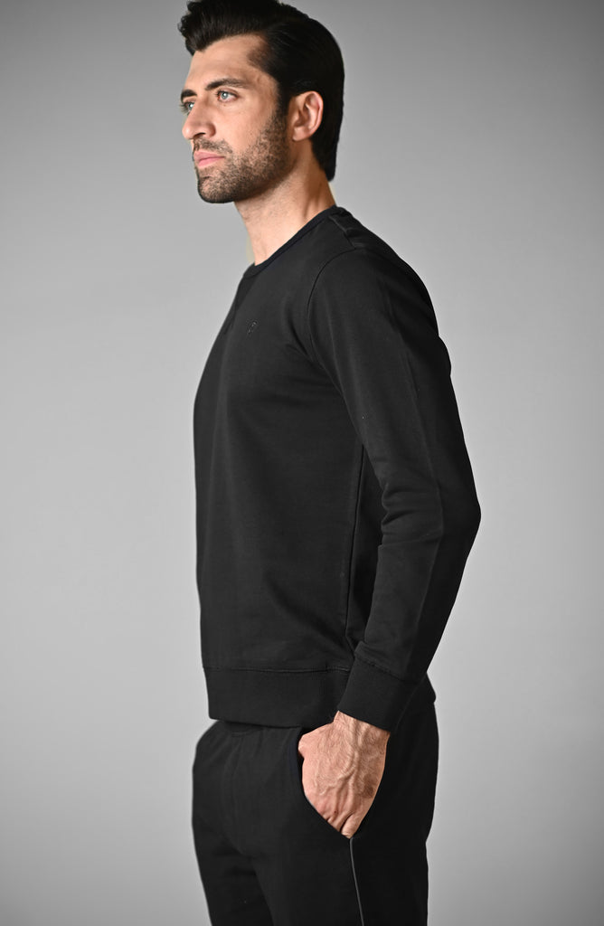 Sweat Shirt Mock Neck - Jet black