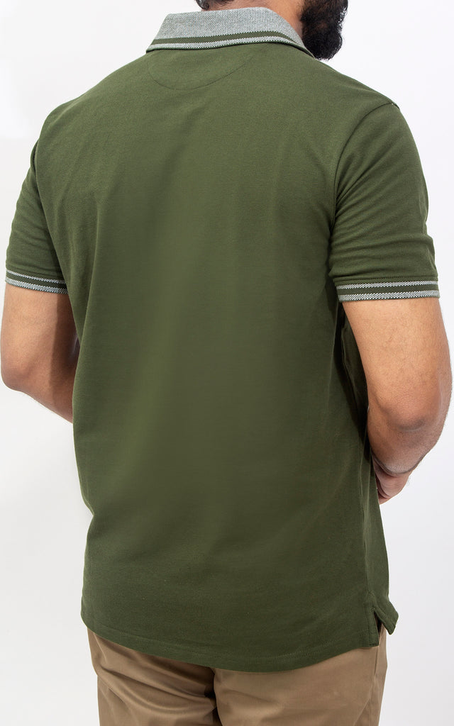 Half Sleeves Stretch Polo - Chive