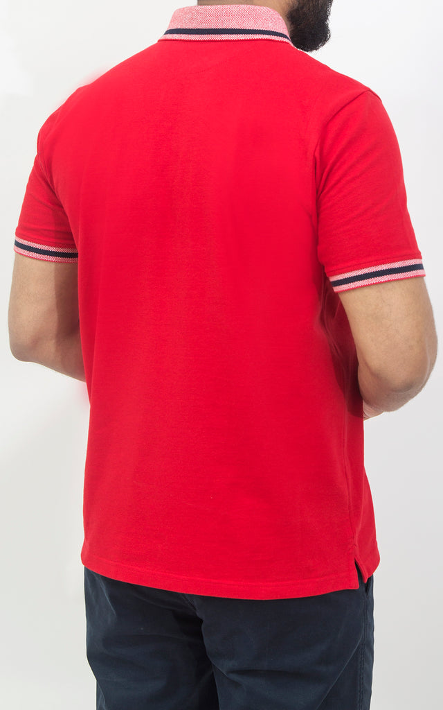 Half Sleeves Stretch Polo - Flame Scarlet