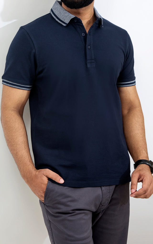 Half Sleeves Stretch Polo - Navy Blazer