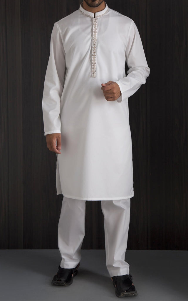Embroidered Kurta - White