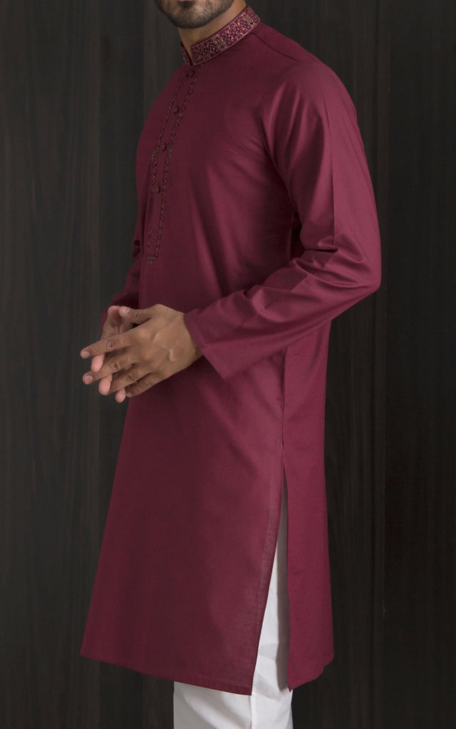 Embroidered Kurta - Red