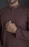Embroidered Kurta - Brown