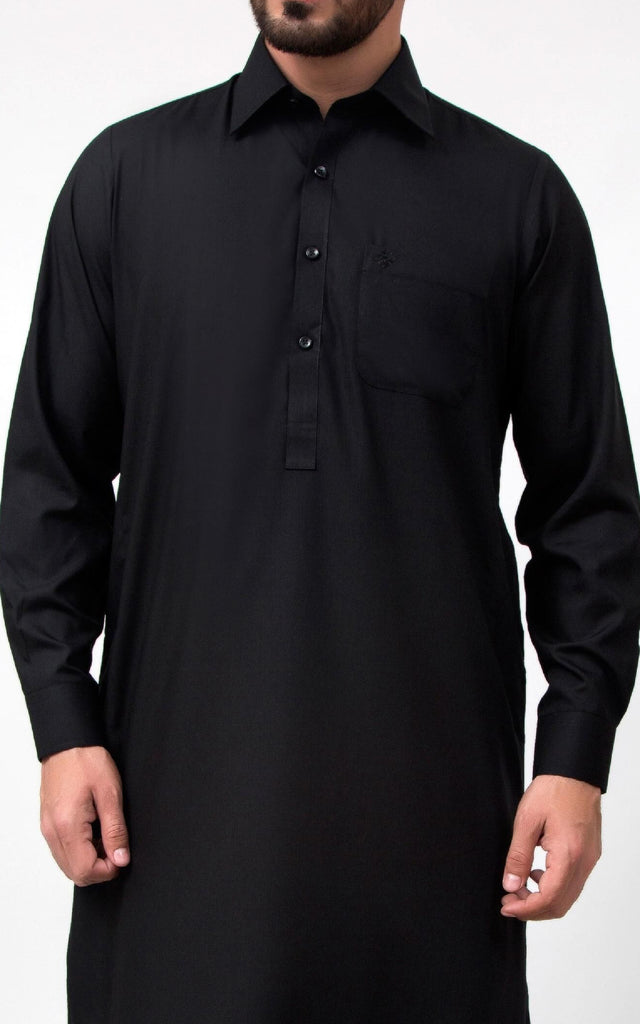 Resham Shalwar Suit - Black