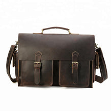 Load image into Gallery viewer, Dark-Brown-Leather-Messenger-Bag