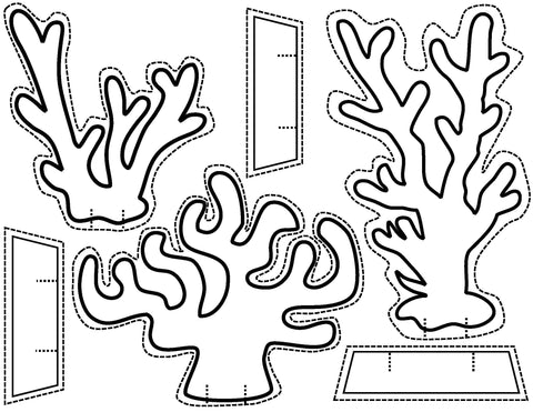 Paper stand-up coral reef art activity
