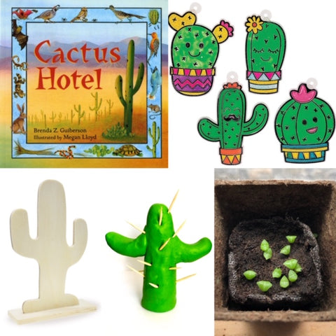 Cactus book and Cactus themed STEM activities for KIDS