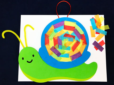 Snail tissue paper collage art activity for kids.
