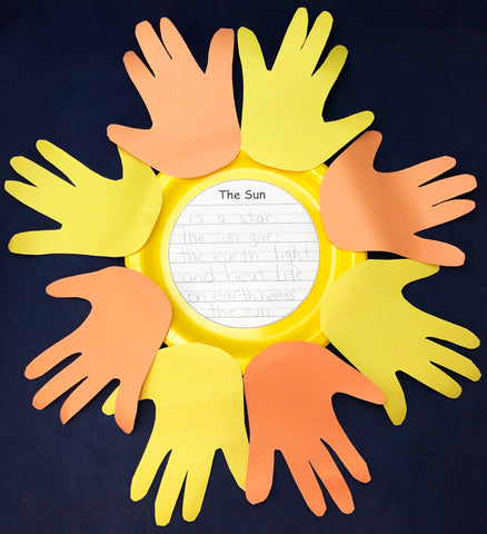 sun craft with hand prints and literacy activity