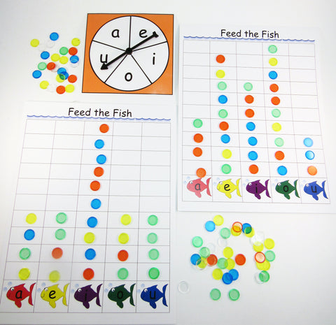 Feed the Fish - Vowel Race: Literacy activity inspired by by A Fish Out of Water by Helen Palmer