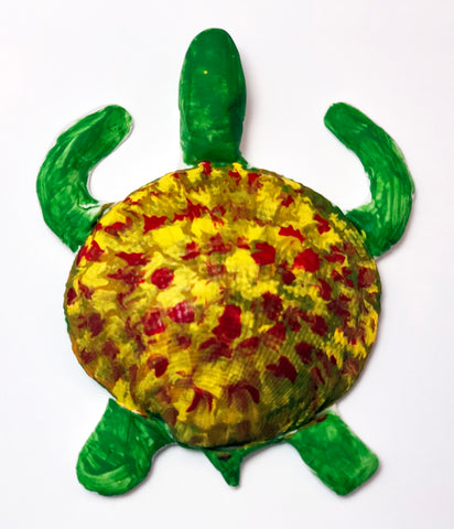 Green sea turtle clay model children's art and science activity