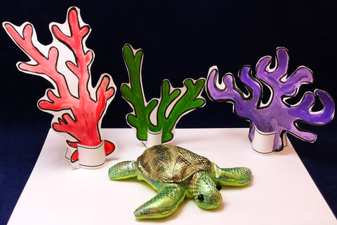 Make your own coral reef scenery for green sea turtle kids art activity
