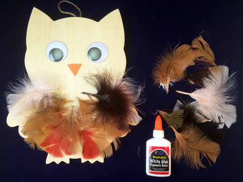 Science and Art Activity - Wooden Owl Collage with Feathers