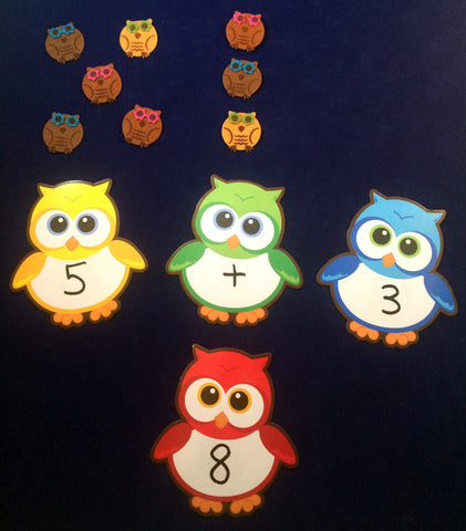 Math Activity - Owl Number Stories using felt owls and owl dry-erase boards inspired by Owl Babies