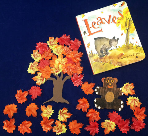 Retelling the story of Leaves by David Ezra Stein with silk leaves and foam trees