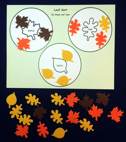 Math activity - Leaf sort inspired by the book Leaves by David Ezra Stein