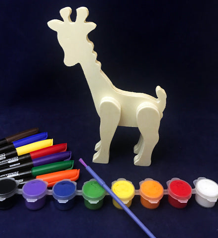 Paint a wooden Giraffe Art Activity