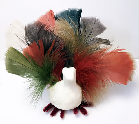 Turkey craft with feathers and clay
