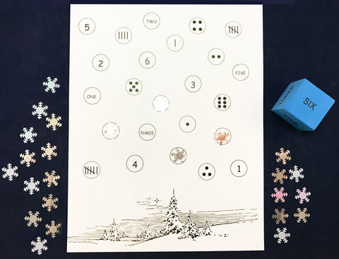 Roll a number and cover board - winter math game