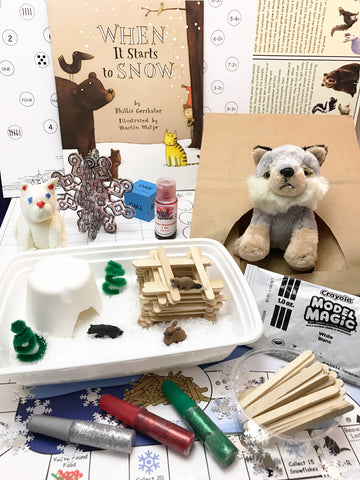 Book based winter themed children's activities subscription box