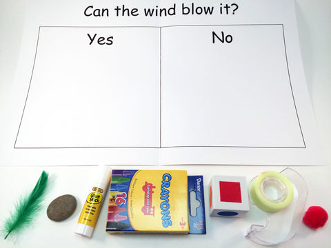 Can the Wind Blow It experiment, a science and math activity, to go along with May's Ivy Kids kit featuring the book The Wind Blew by Pat Hutchins.