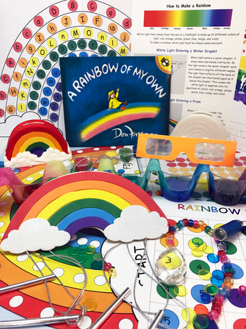 Math, science, art, and literacy activities inspire by the book A Rainbow of My Own by Don Freeman.