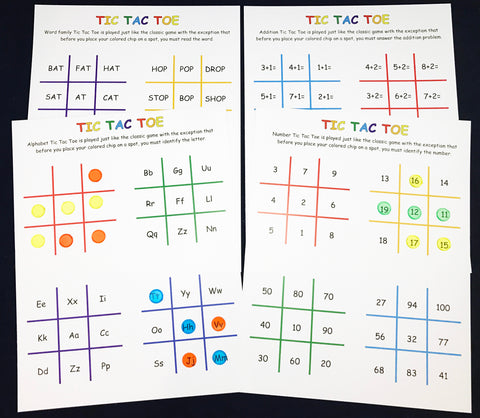 Tic Tac Toe with letters, numbers, words, and addition