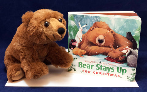 Bear Stays Up for Christmas book with soft plush bear