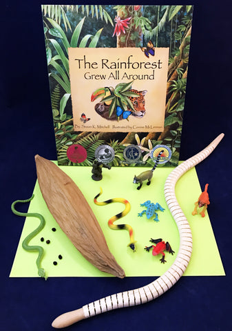Activities inspired by The Rainforest Grew All Around. Rain forest themed activity kit.