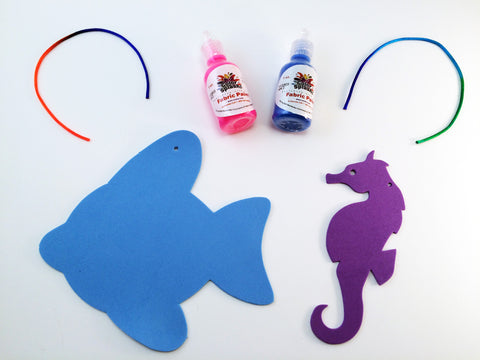Art Activity inspired by the book Over in the Ocean in a Coral Reef: Create a 3 Dimensional fish and Seahorse Ornament with puffy paint