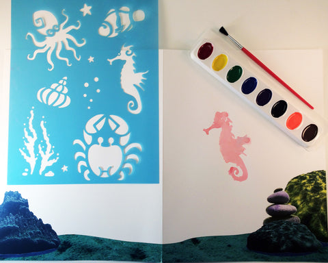 Art activity inspired by the book Over in the Ocean in a Coral Reef. Use stencils to paint an underwater scene with sea creatures, seashells, and coral.