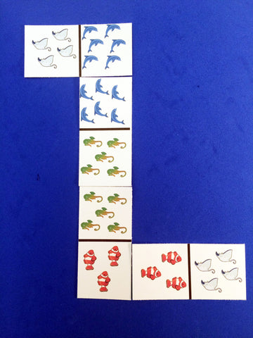 Sea Creature Dominoes, a math game inspired by the book Over in an Ocean in a Coral Reef.