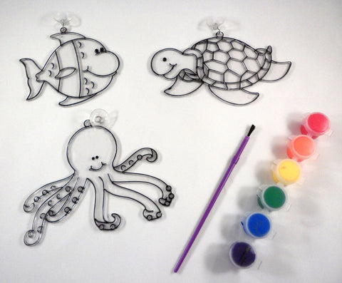 Sea-life sun-catchers - A House for Hermit Crab - Ivy Kids subscription box activities.
