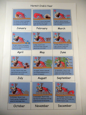 Calendar board A House for Hermit Crab - Ivy Kids subscription box activities.
