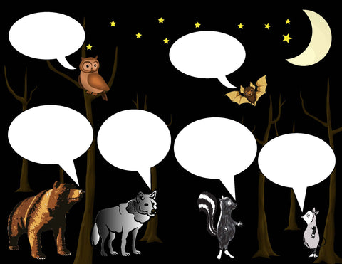 Speech bubble literacy activity to go with Night Animals