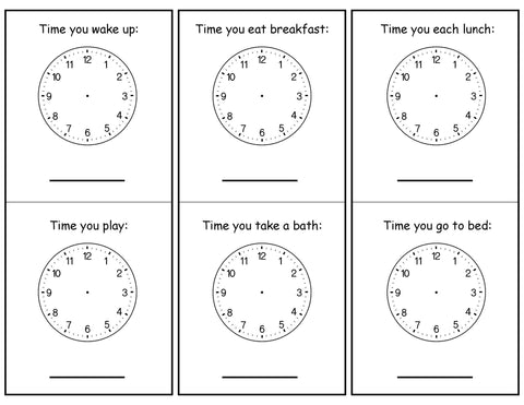 time activity learning about clocks