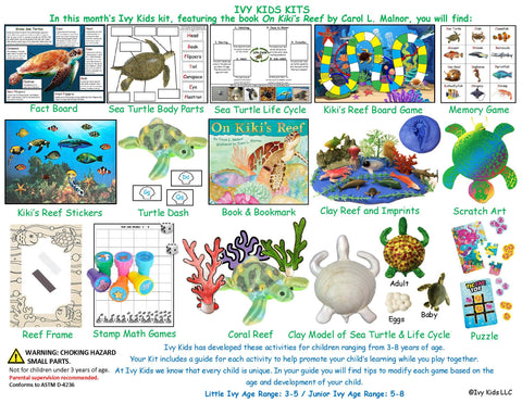 Activities inspired by the book On Kiki's Reef. Coral reef and green sea turtle themed activities.