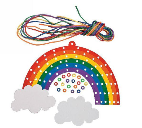Rainbow art craft with beads lacing