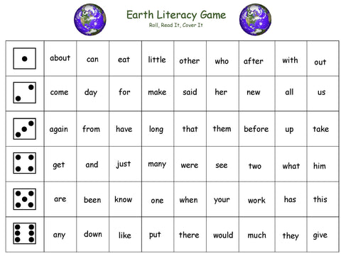 Earth inspired literacy activity for kids