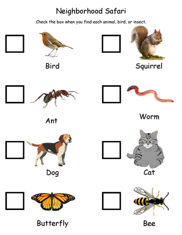 safari hunt check list for kids