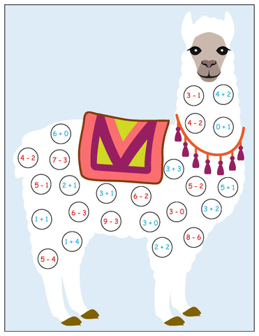 Llama roll and cover math game kids
