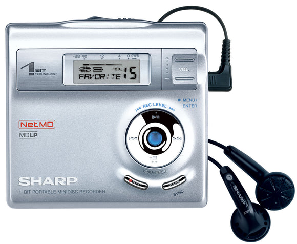 SHARP MD-DR410H 1-Bit Portable Minidisc Player - Silver  (Used-VGC)