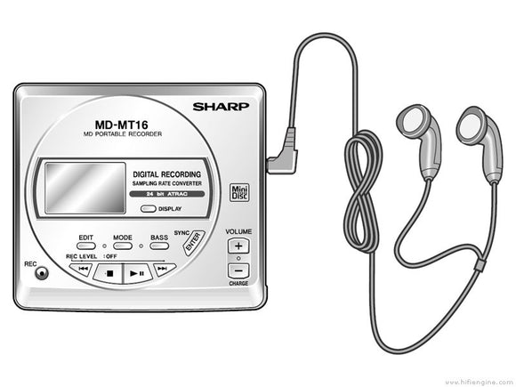 SHARP MD-MT16E Portable Minidisc Player - Silver  (Used-VGC-Boxed)