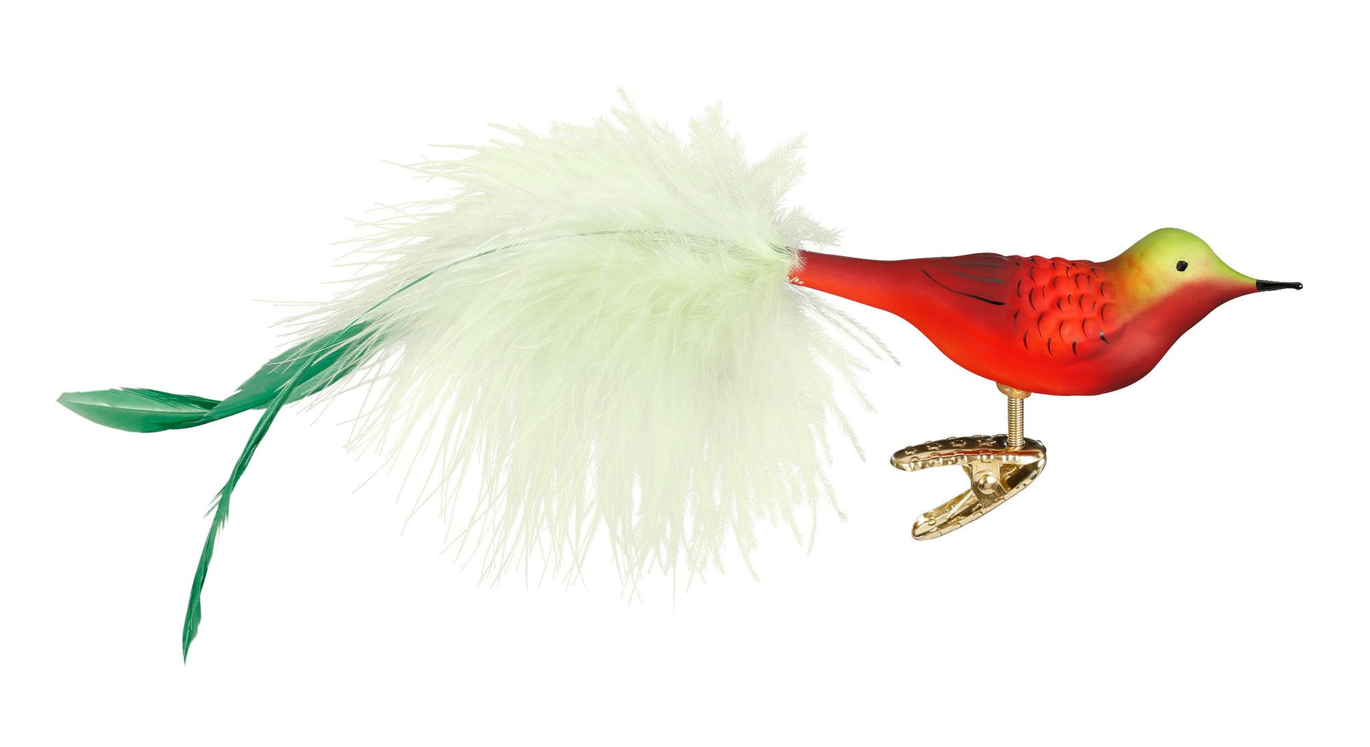 Red/green Feathered Bird Christmas Ornament
