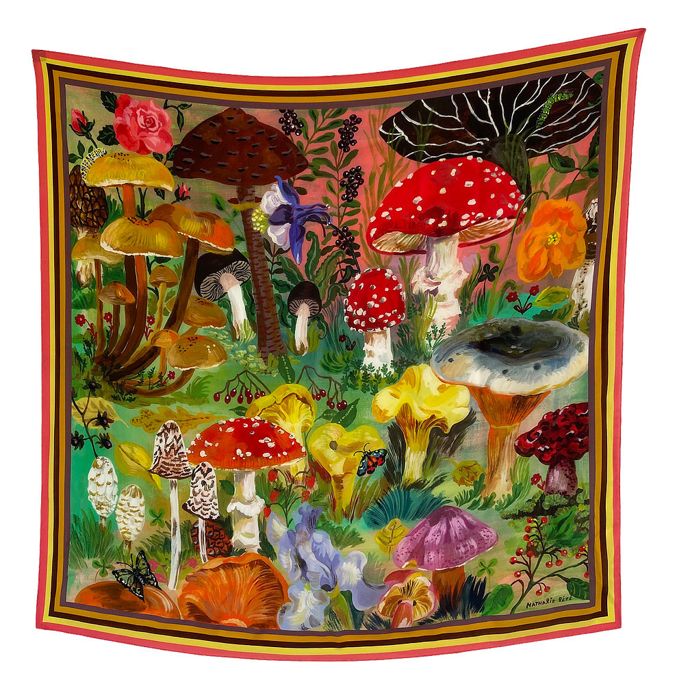 Nathalie Lete Mushrooms Silk Scarf
