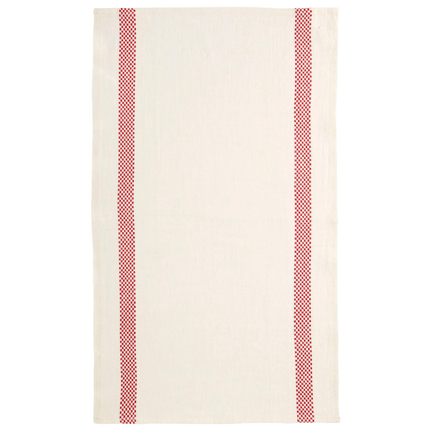 Linen Tea Towel Checked Stripe White/Red