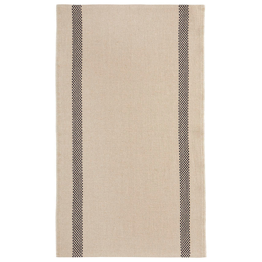 Linen Tea Towel Checked Stripe Natural/Black