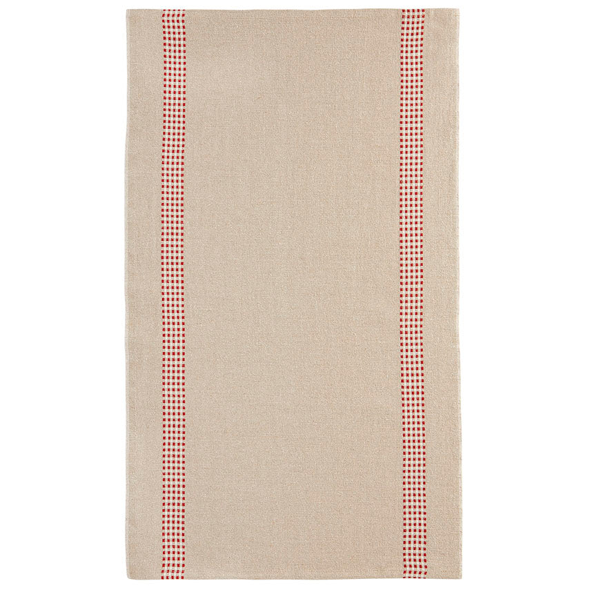 Linen Tea Towel Checked Stripe Natural/Red